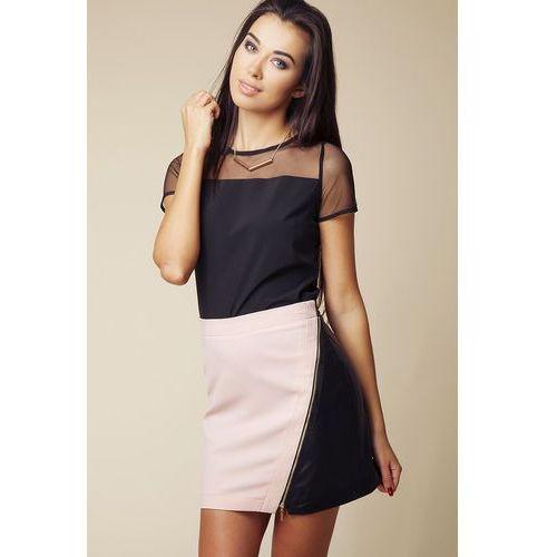 Mini Spódnica z Eko-skóry z Asymetrycznym Suwakiem - Różowy&czarny, w 4 rozmiarach