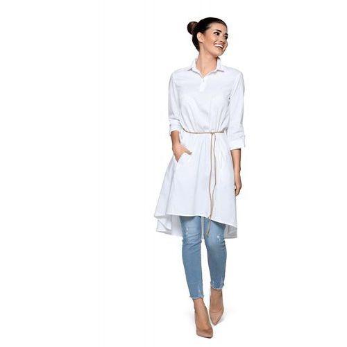 c7bc1c7a71 Biała Luźna Sukienka Koszulowa z Rzemykiem