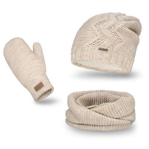 Komplet , czapka, komin i rękawiczki - beżowy - beżowy marki Pamami