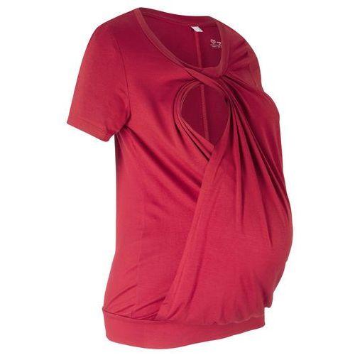Shirt ciążowy i do karmienia, krótki rękaw ciemnoczerwony, Bonprix, 32-54
