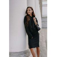 Swetrowy komplet bluza + spódnica - czarny