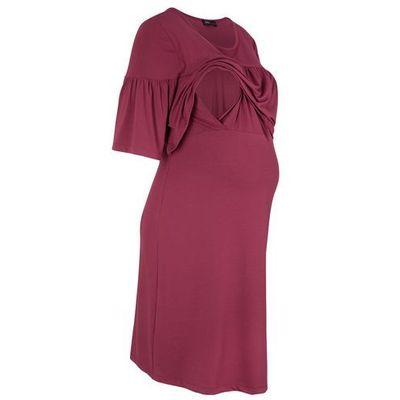 be256c3a9d Bonprix Sukienka shirtowa ciążowa i do karmienia na uroczyste okazje  bordowy bonprix