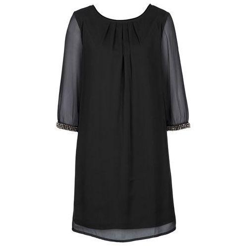 Sukienka szyfonowa bonprix czarny, kolor czarny