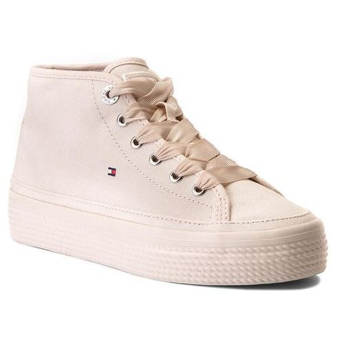 Tommy hilfiger Sneakersy - pastel mid flatform sneaker fw0fw02985 silver peony 642