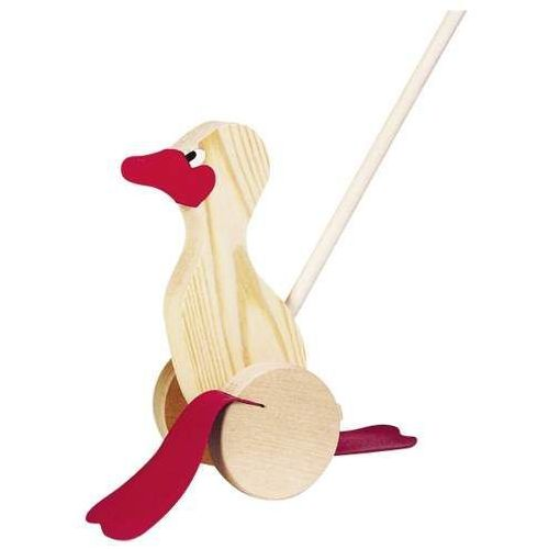 Goki Drewniana zabawka do pchania na kółkach, kaczka kwaczka