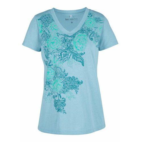 T-shirt z lnem i nadrukiem bonprix niebieski mglisty z nadrukiem