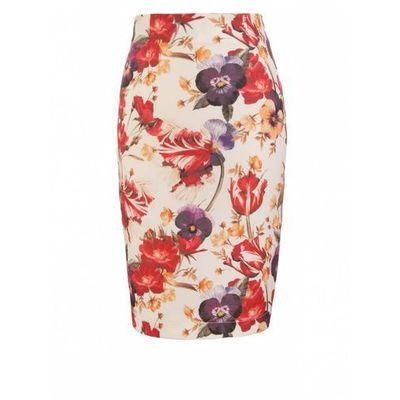Spódnica ołówkowa do kolan sp39 kwiatygranat