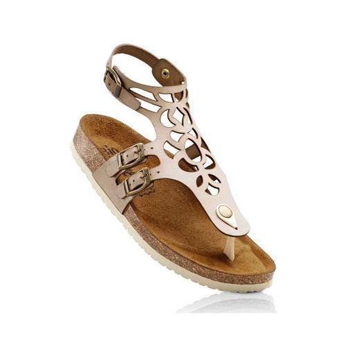 Wygodne sandały skórzane bonprix beżowy, 1 rozmiar