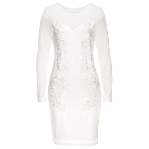Bonprix Sukienka siatkowa z koronką biel wełny