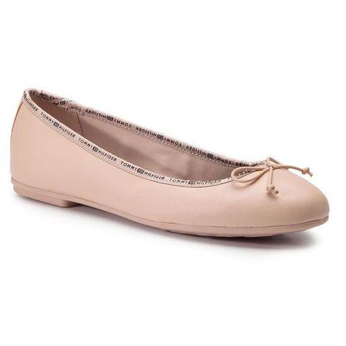 d6ab147fc52c4 Tommy Hilfiger Baleriny - leather ballerina tommy branding fw0fw04439 cream  tan 904, Tommy hilfiger, 36-