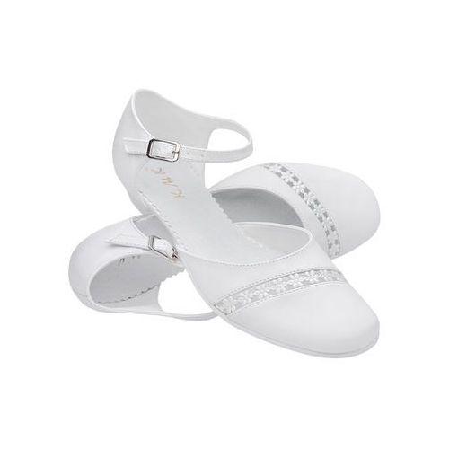 620b35dc Pantofelki buty komunijne dla dziewczynki KMK 45 Białe - Biały - zdjęcie