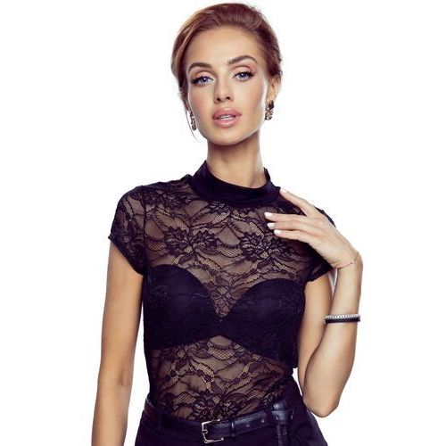 Marylin bluzka damska z krótkim rękawem Eldar Romantica Top Czarna, kolor czarny