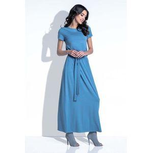e7df9589cb Niebieska Sukienka Maxi z Wiązanym Paskiem