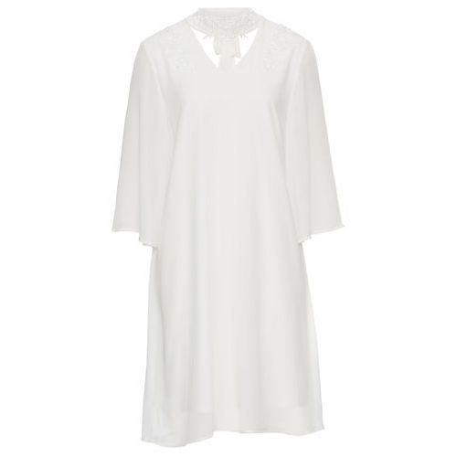 Sukienka z koronką i aplikacją kremowy Bonprix