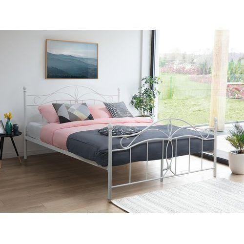 łóżko Białe 180 X 200 Cm Metalowe Ze Stelażem Antlia Beliani