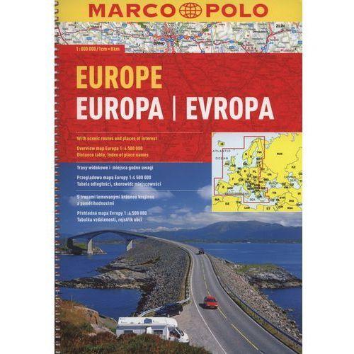 Europa 1:800 000. Atlas samochodowy na spirali. Wyd. 2015. Marco Polo, praca zbiorowa