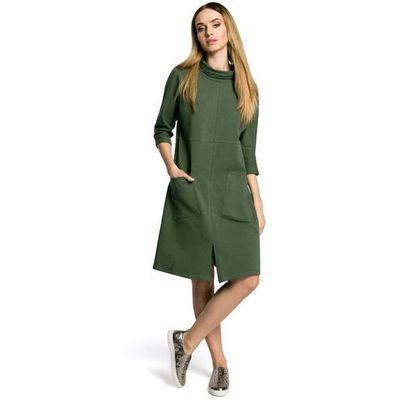 fda1e56c46 Zielona Sukienka Trapezowa przed Kolano w Sportowym Stylu z Kieszeniami