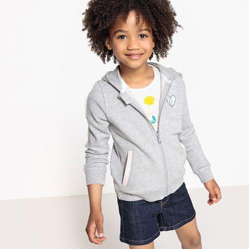 Sweter z kapturem i zamkiem błyskawicznym 3-12 lat, kolor szary