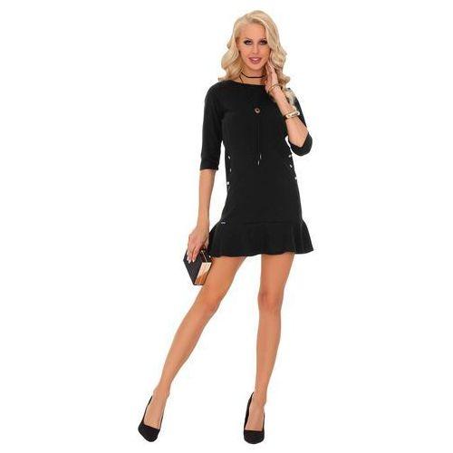 b158d39dad Zobacz ofertę Czarna prosta sukienka dzianinowa z falbanką i guzikami  Merribel