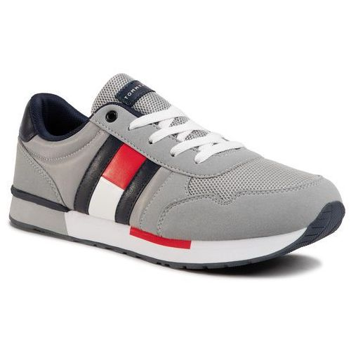 Sneakersy TOMMY HILFIGER - Low Cut Lace-Up Sneaker T3B4-30724-0902 D Grey 900, kolor szary
