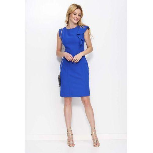 8f227c38a0 Zobacz ofertę Chabrowa Sukienka Ołówkowa z Falbanką na Ramieniu