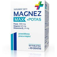 Tabletki MAGNEZ Max + Potas x 50 tabletek + 10 tabletek Gratis
