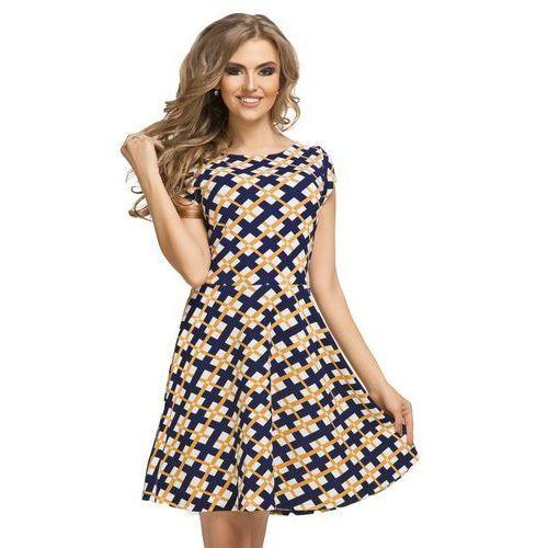 dd3f534eb1 Tessita Rozkloszowana sukienka z krótkim rękawem w kolorową kratę t183 - 1