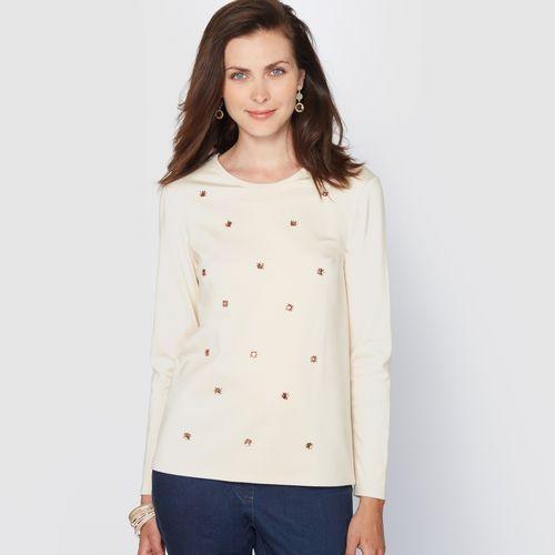 Sweter biżuteria, dzianina milano, kolor beżowy - 1