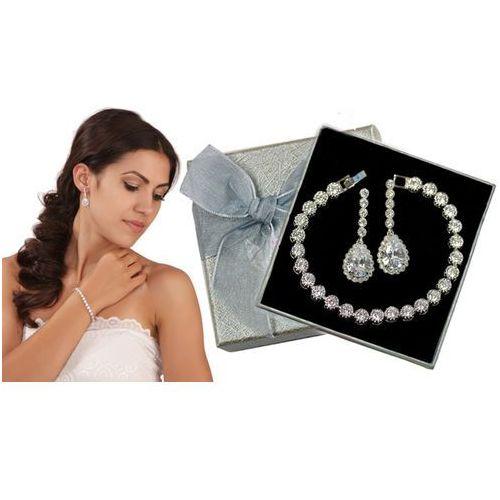 Mak-biżuteria Kpl871 komplet ślubny, biżuteria ślubna z cyrkoniami k599/544 b599/543