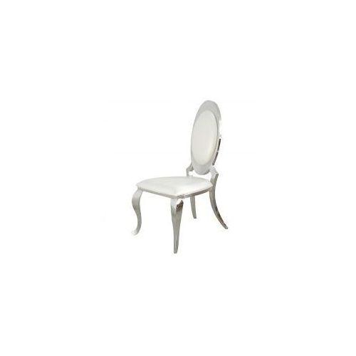 Krzesło glamour Victoria White Eco - nowoczesne krzesło tapicerowane ekoskóra (5908273396675)