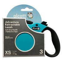 Alcott Smycz automatyczna taśmowa XS 3m do 11kg turkusowa, 849910115165