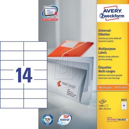 Etykiety uniwersalne Avery Zweckform 3653, 105x42,3mm (4004182036532)