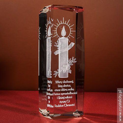 Pamiątka Chrztu »Świeca 3D« wysoka • statuetka 3D personalizowana