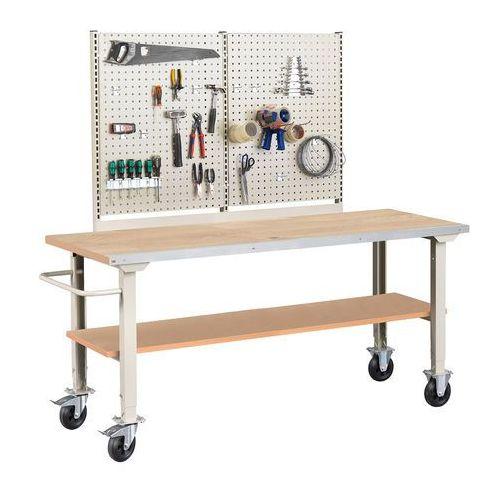 Mobilny stół roboczy SOLID 400, 2000x800 mm, dąb, 25993