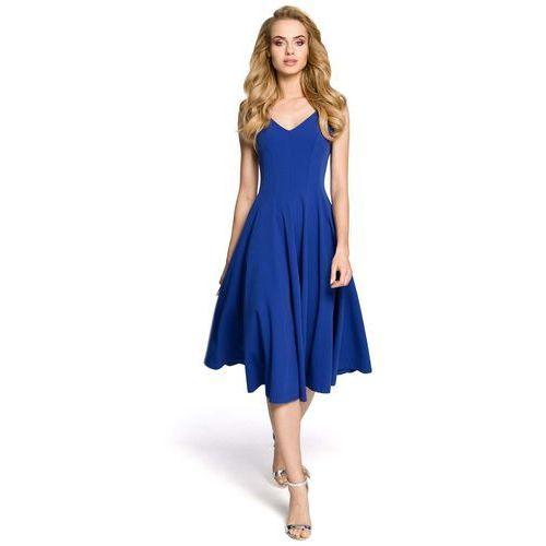 b000442c32 Chabrowa wizytowa sukienka midi z szerokim dołem