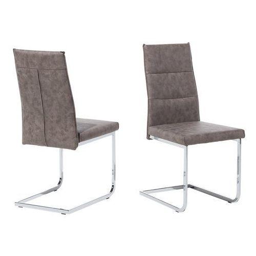 Beliani Zestaw do jadalni 2 krzesła ciemnobrązowe rockford