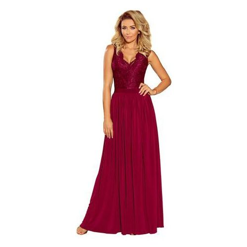 52875ff160 Numoco Bordowa Wieczorowa Sukienka Maxi z Koronkową Górą bez Rękawów