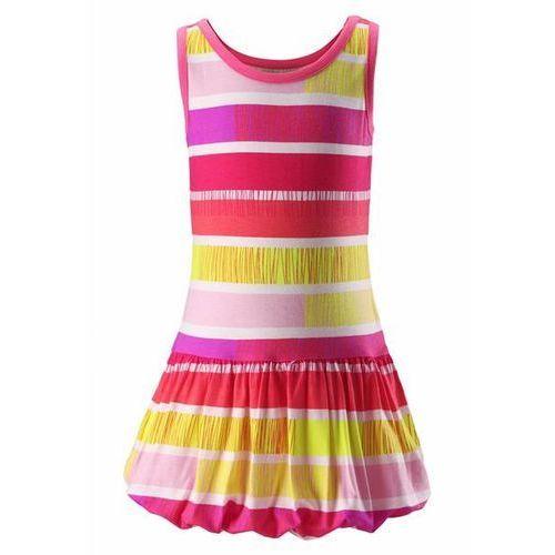 Sukienka UV bez prasowania Reima Cranberry różowy żółta paski