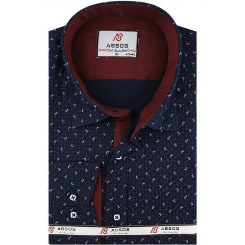 Koszula męska granatowa/bordowa w kropki slim fit na długi rękaw a090 marki Assos
