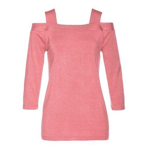 Shirt z wycięciami na ramionach, z domieszką jedwabiu różowobrązowy Bonprix