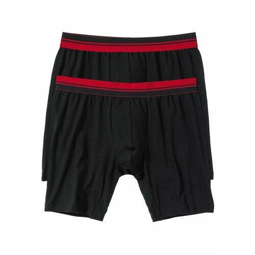 Bonprix Długie bokserki (2 pary) czarno-ciemnoczerwony
