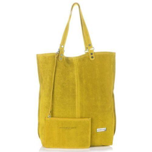 e743854f360ee Uniwersalne Torebki Skórzane Firmowy Shopperbag Vittoria Gotti Made in  Italy w rozmiarze XXL Zamsz Naturalny wysokiej
