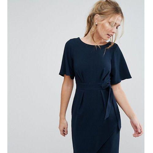 0a54a3d562 Closet tie front dress with kimono sleeve - navy marki Closet london