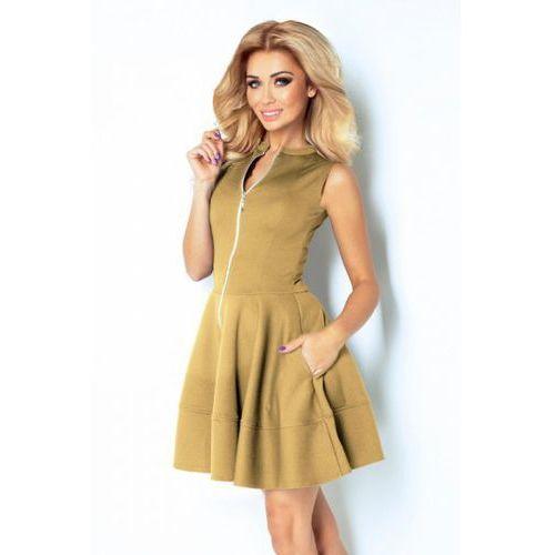 123-14 Sukienka z ekspresem z przodu i kieszonkami - BEŻOWA - SALE