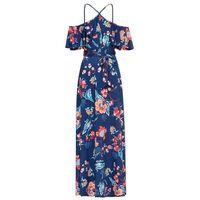 Długa sukienka letnia bonprix niebieski w kwiaty