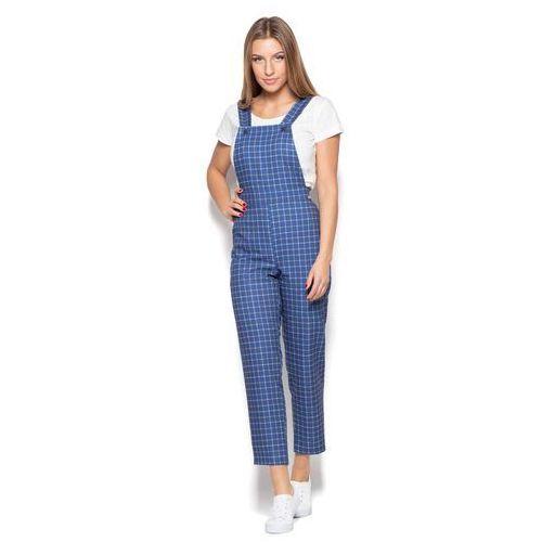 Niebieskie spodnie ogrodniczki w kratę marki Katrus