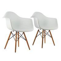 oneConcept Bellagio Fotel w stylu retro siedzisko z polipropylenu drewno brzozowe biały, 2 sztuki