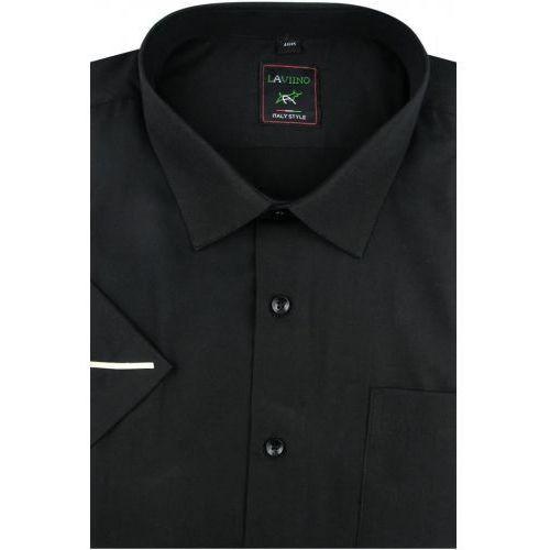 Duża Koszula Męska Laviino gładka czarna duże rozmiary na krótki rękaw K707, K707