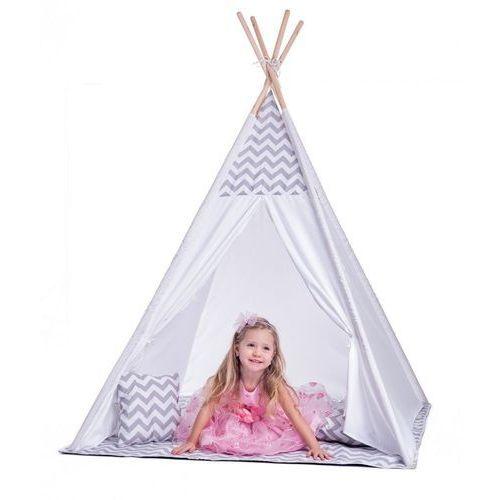 Duży namiot tipi biało-szary z poduszkami marki Woody