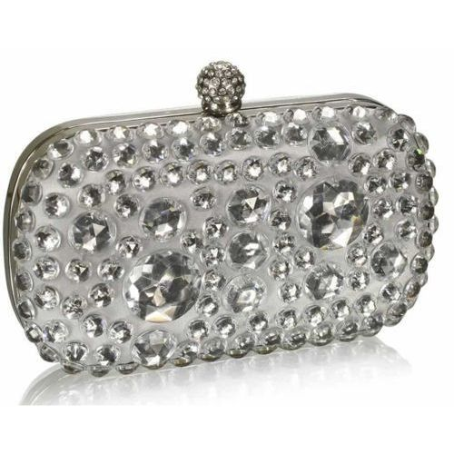 d641b36916356 Kryształowa srebrna wizytowa torebka damska - srebrny, kolor szary